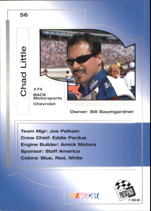2001 Press Pass Trackside #56 Chad Little back image