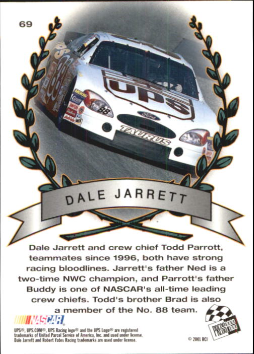 2001 Press Pass Trackside #69 Dale Jarrett TM back image