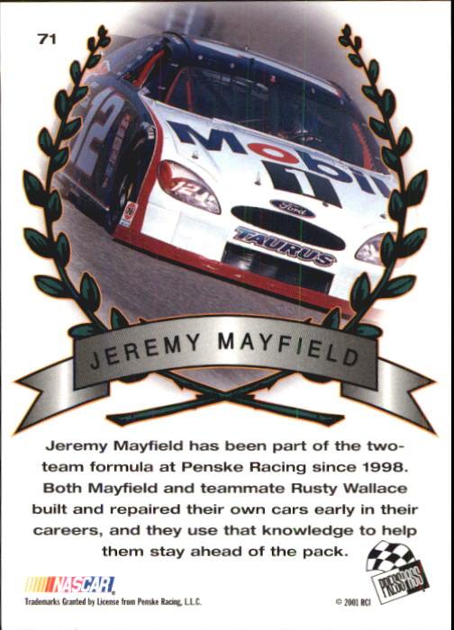 2001 Press Pass Trackside #71 Jeremy Mayfield TM back image