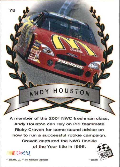 2001 Press Pass Trackside #78 Andy Houston TM back image