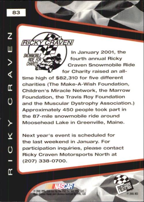 2001 Press Pass Trackside #83 Ricky Craven CS back image
