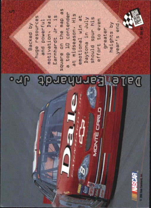 2001 Press Pass Optima #5 Dale Earnhardt Jr. back image