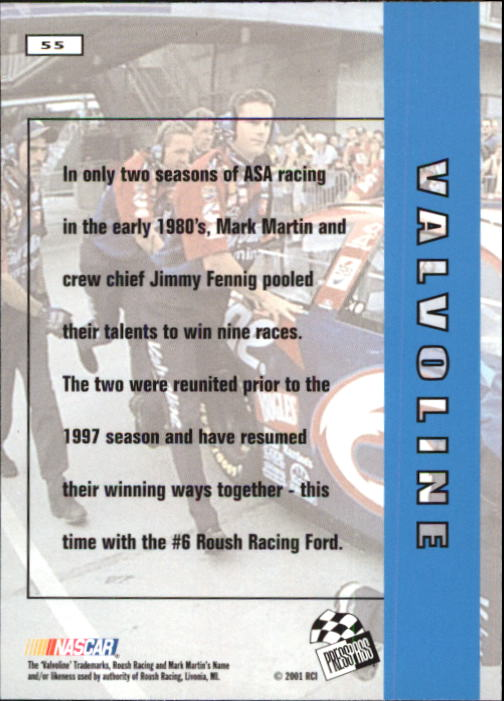 2001 Press Pass #55 Mark Martin's Car back image
