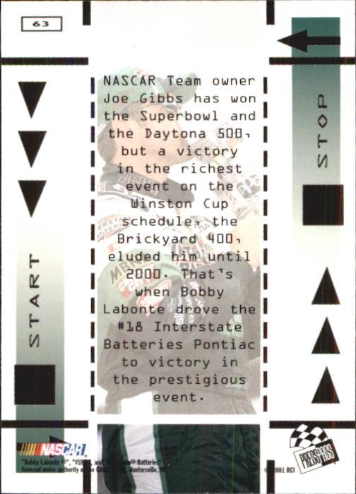 2001 Press Pass #63 Bobby Labonte REP back image