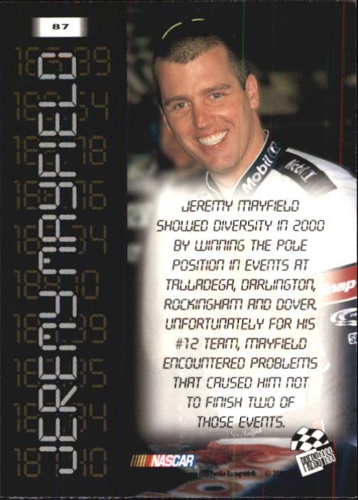 2001 Press Pass #87 Jeremy Mayfield SO back image
