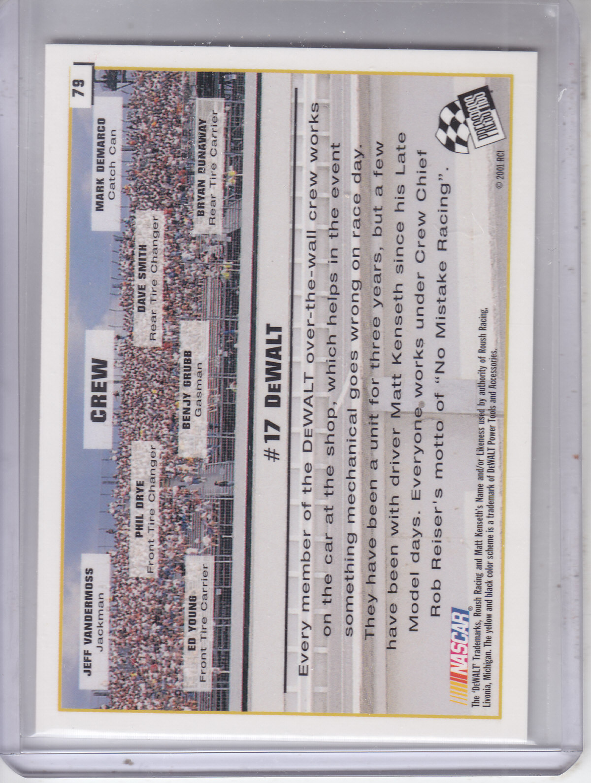 2002 Press Pass #79 Matt Kenseth's Car back image