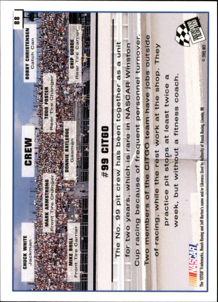 2002 Press Pass #88 Jeff Burton's Car back image