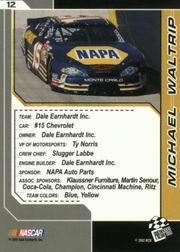 2002 Press Pass Trackside #12 Michael Waltrip back image