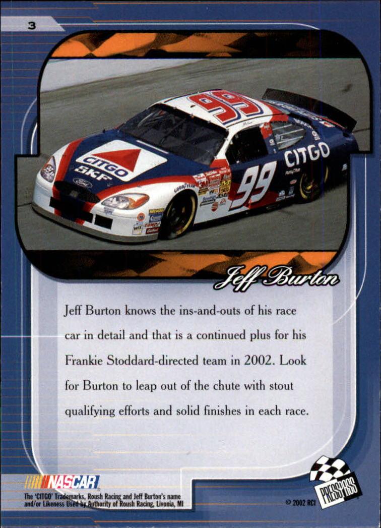 2002 Press Pass Premium #3 Jeff Burton back image