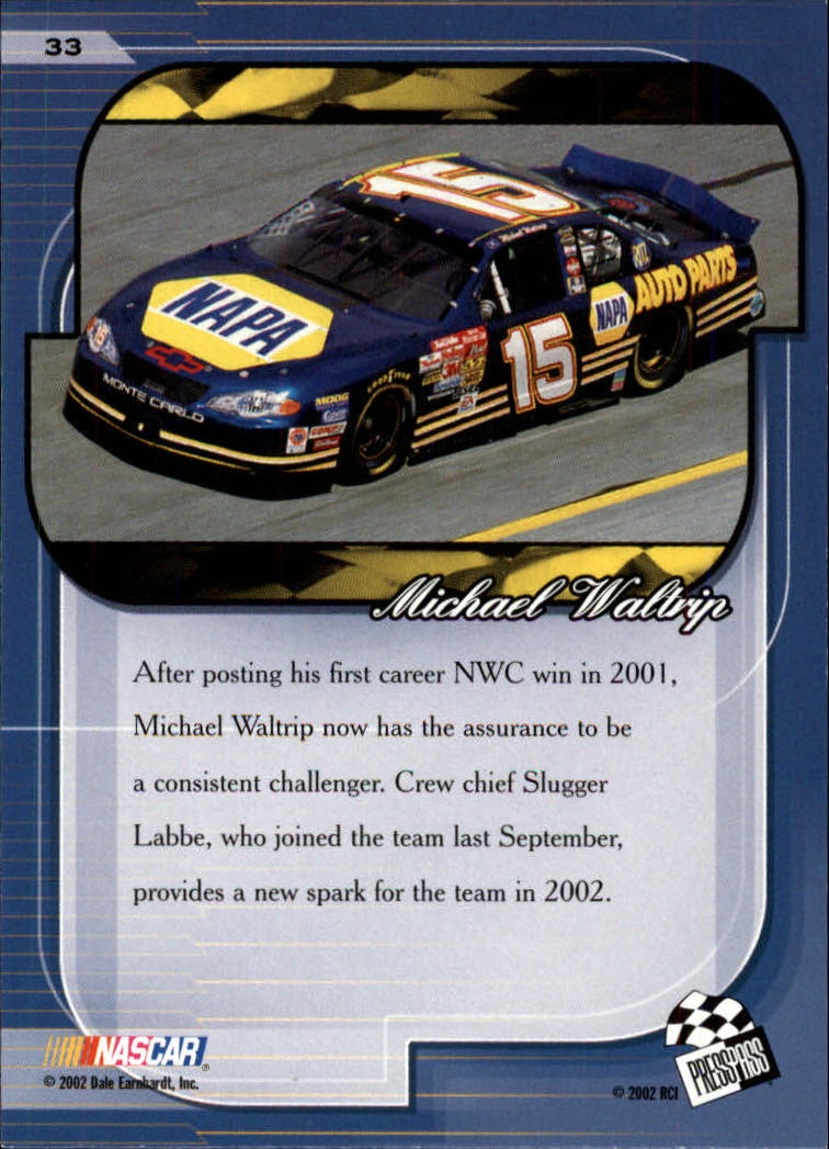 2002 Press Pass Premium #33 Michael Waltrip back image