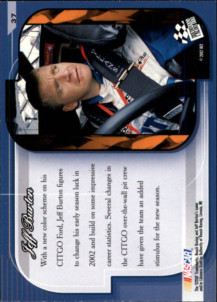 2002 Press Pass Premium #37 Jeff Burton's Car back image
