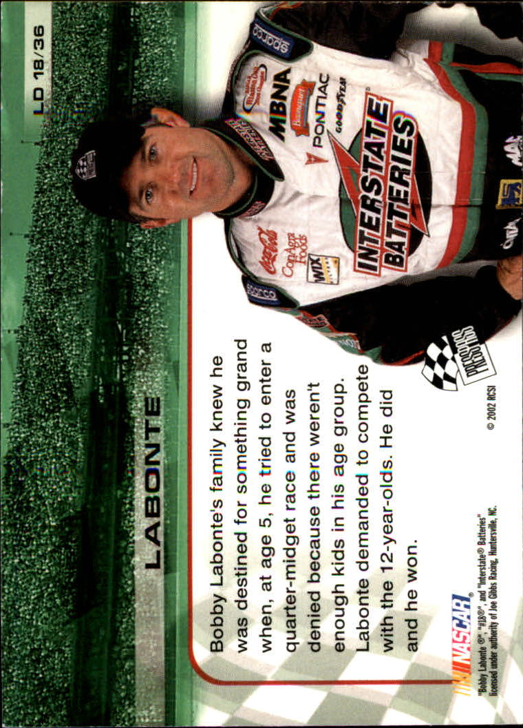 2002 Press Pass Trackside License to Drive #18 Bobby Labonte back image