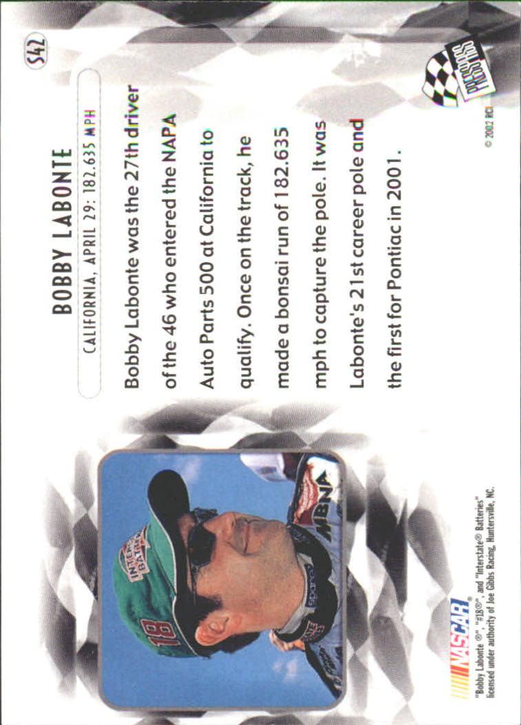 2002 Press Pass Eclipse Solar Eclipse #S42 Bobby Labonte SO back image