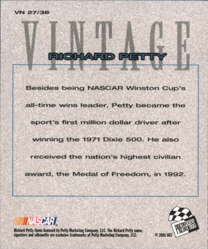 2002 Press Pass Vintage #VN27 Richard Petty back image