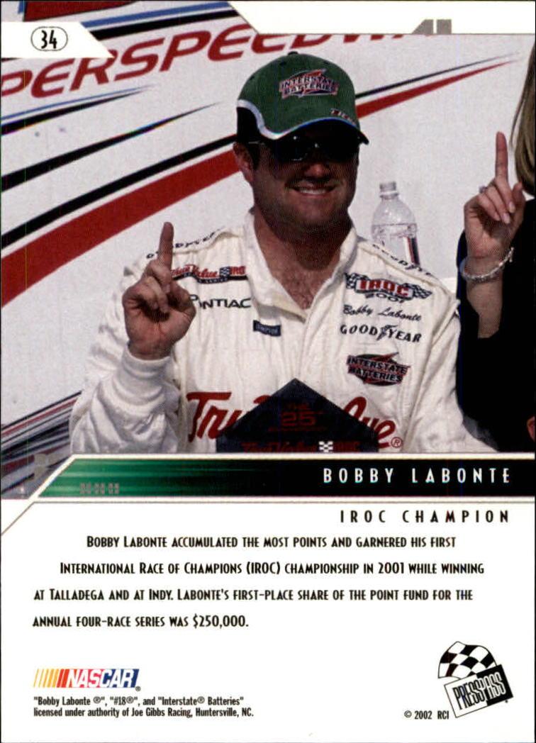 2002 Press Pass Eclipse #34 Bobby Labonte ACC back image