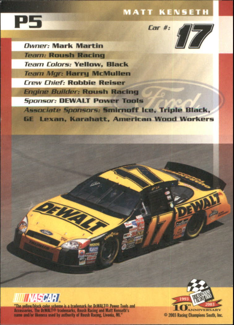2003-Press-Pass-Racing-Eclipse-Stealth-Inserts-You-Pick-Buy-10-cards-FREE-SHIP thumbnail 203
