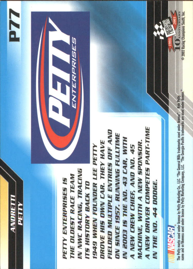 2003-Press-Pass-Racing-Eclipse-Stealth-Inserts-You-Pick-Buy-10-cards-FREE-SHIP thumbnail 303