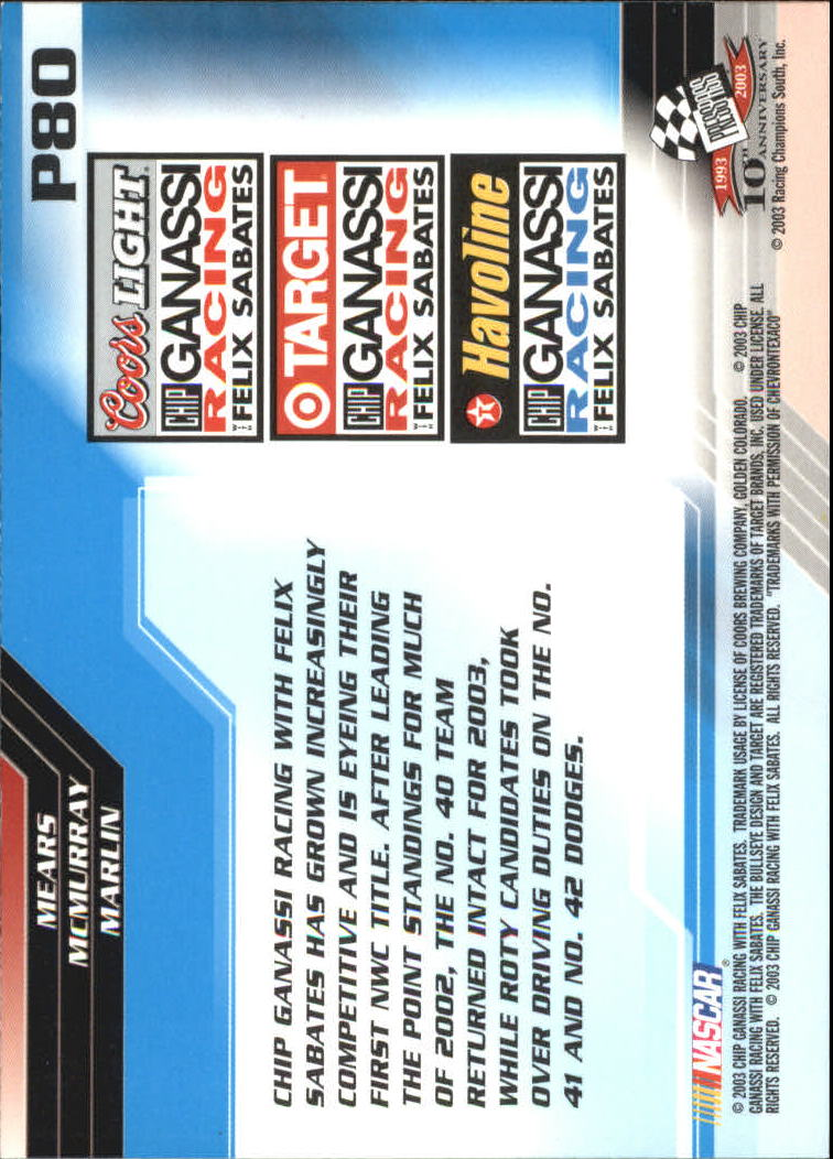 2003-Press-Pass-Racing-Eclipse-Stealth-Inserts-You-Pick-Buy-10-cards-FREE-SHIP thumbnail 305