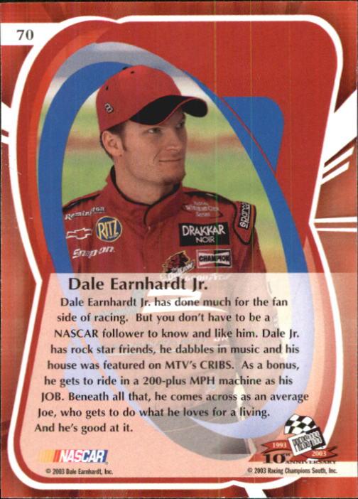 2003 Press Pass Premium #70 Dale Earnhardt Jr.PC back image