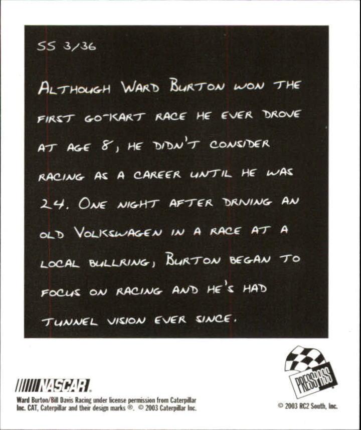 2004 Press Pass Snapshots #SN3 Ward Burton back image