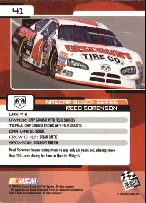 2005 Press Pass Trackside #41 Reed Sorenson RC back image