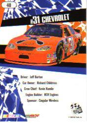 2005 Press Pass Stealth #40 Jeff Burton's Car back image