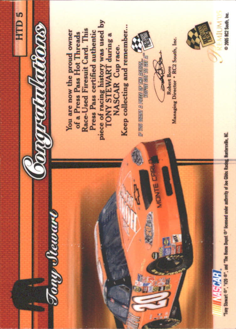 2005 Press Pass Premium Hot Threads Drivers #HTD5 Tony Stewart back image
