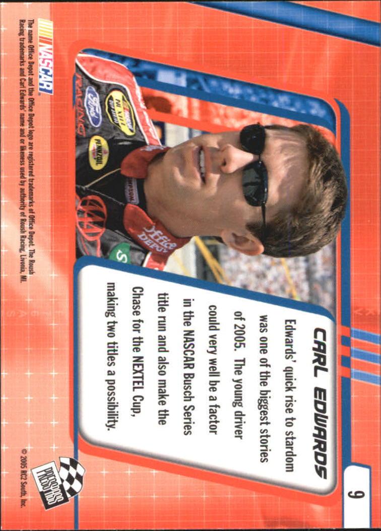 2005 Press Pass Optima #9 Carl Edwards CRC back image