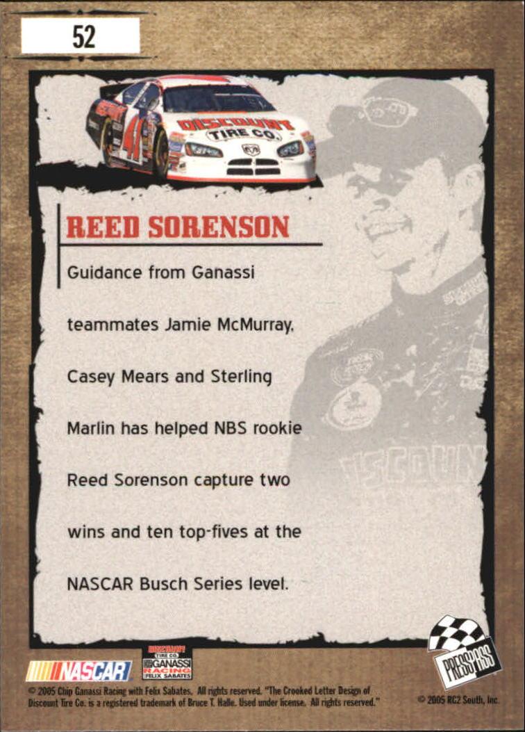 2005 Press Pass Optima #52 Reed Sorenson YG back image