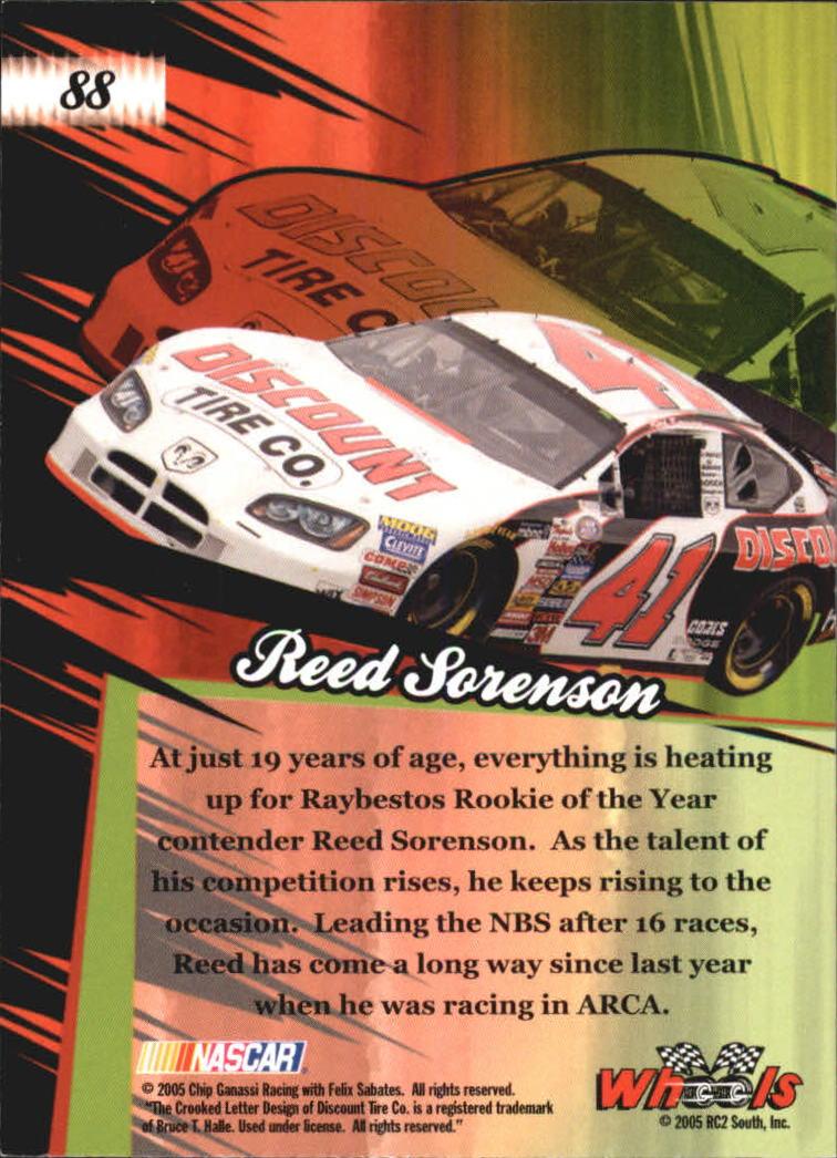 2005 Wheels American Thunder #88 Reed Sorenson RT RC back image