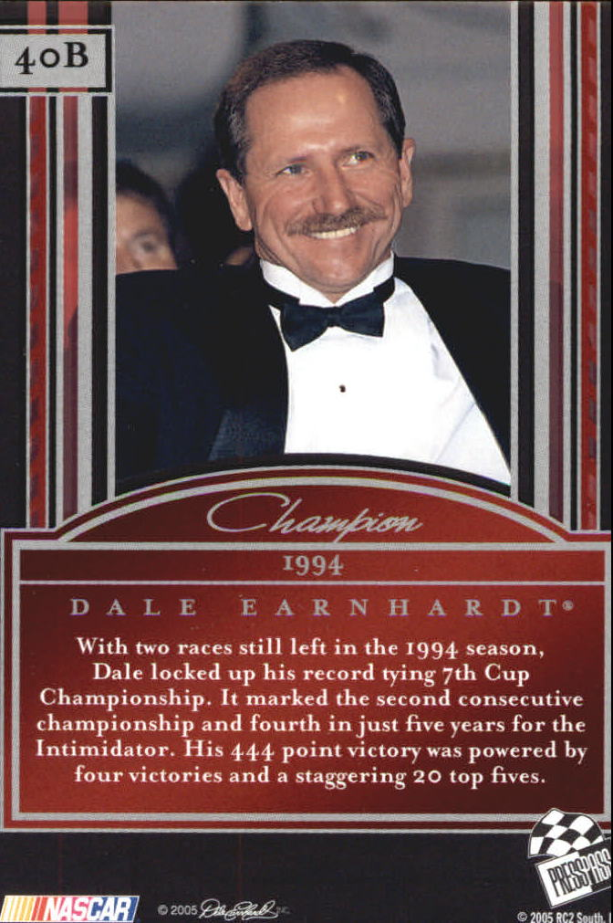 2005 Press Pass Legends Blue #40B Dale Earnhardt C back image