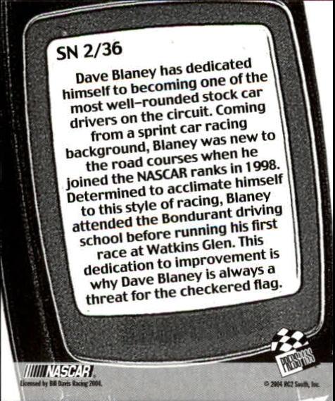 2005 Press Pass Snapshots #SN2 Dave Blaney back image