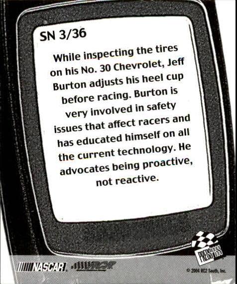 2005 Press Pass Snapshots #SN3 Jeff Burton back image