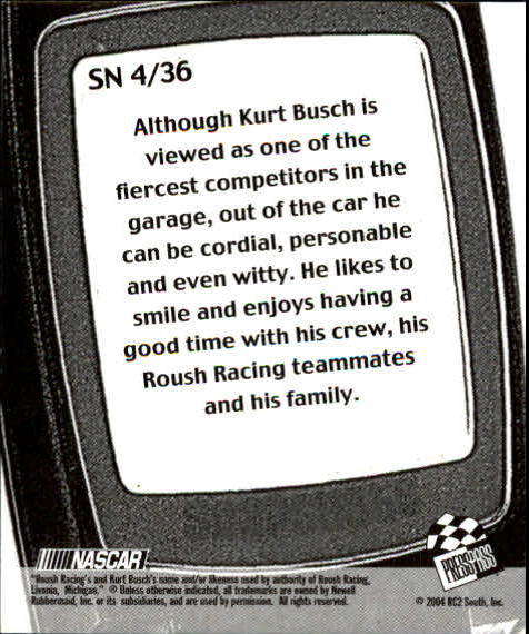 2005 Press Pass Snapshots #SN4 Kurt Busch back image