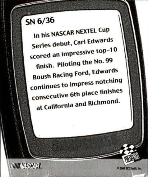 2005 Press Pass Snapshots #SN6 Carl Edwards back image