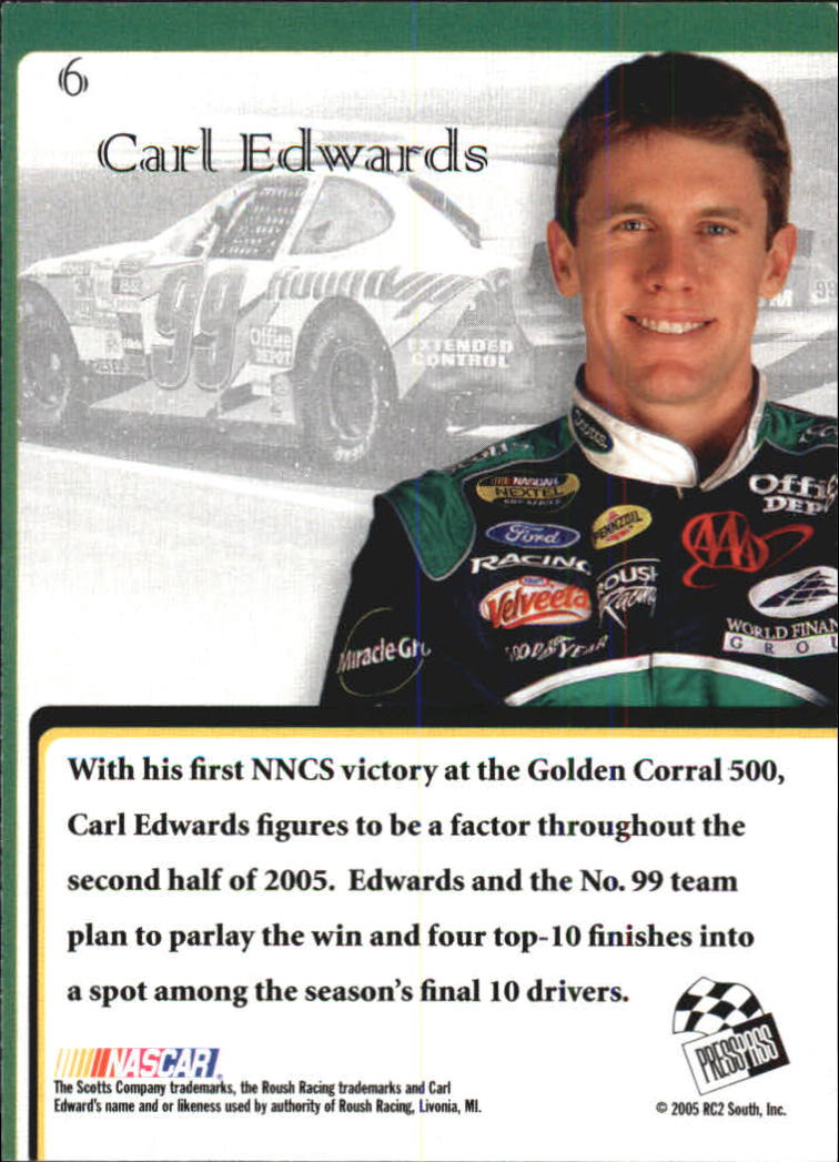2005 VIP #6 Carl Edwards CRC back image