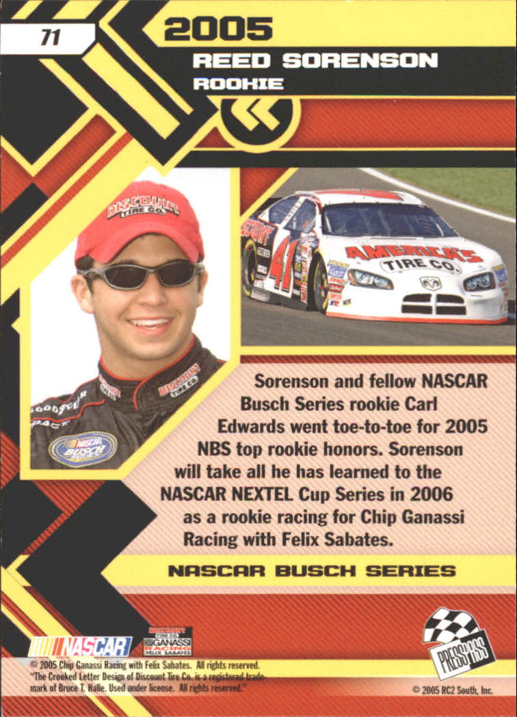 2006 Press Pass #71 Reed Sorenson RR back image