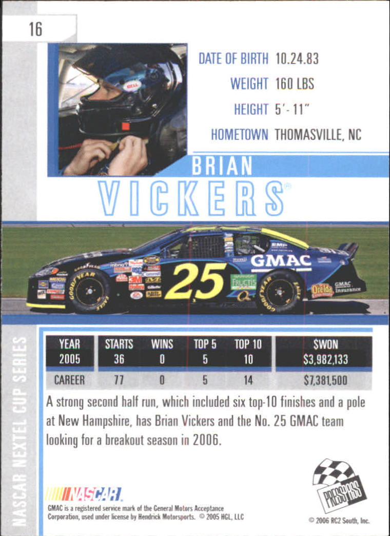 2006 Press Pass Eclipse #16 Brian Vickers back image