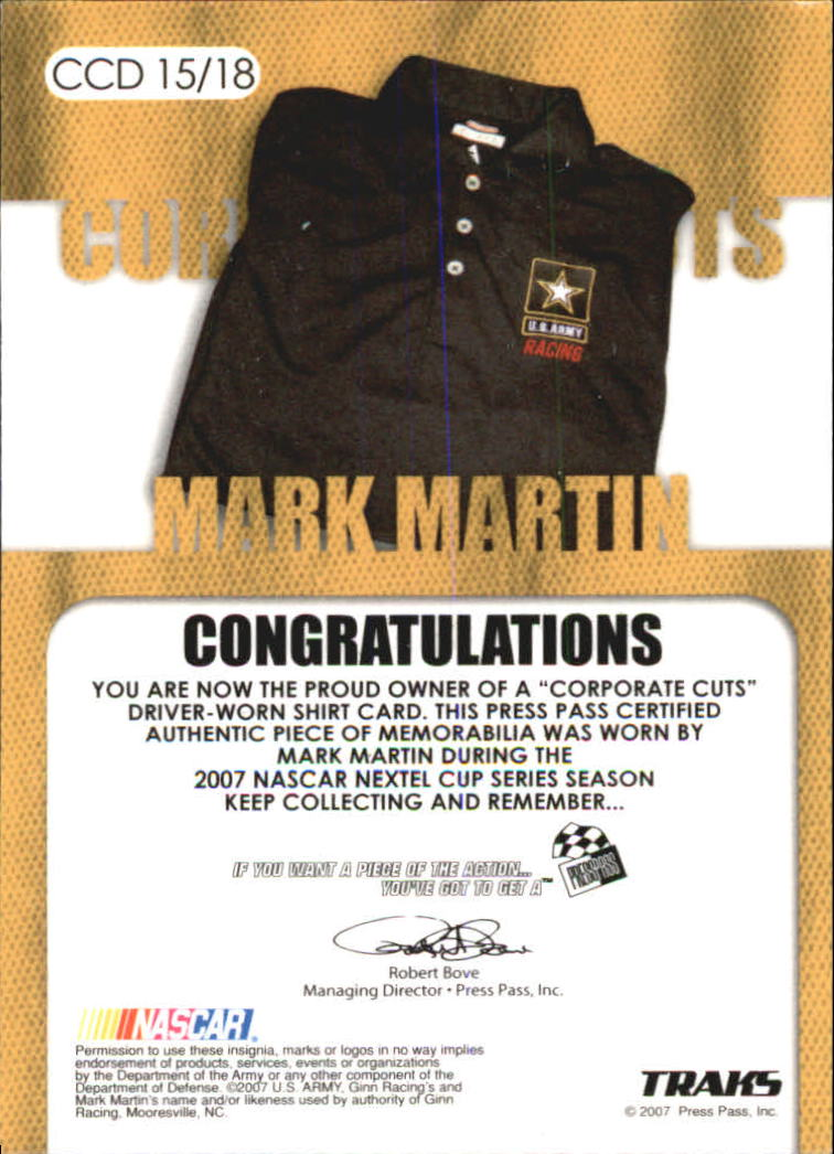 2007 Traks Corporate Cuts Driver #CCD15 Mark Martin back image