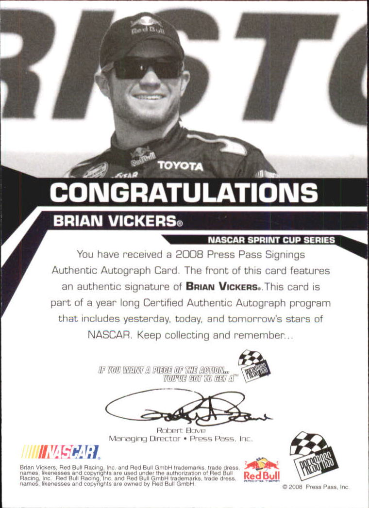 2008 Press Pass Signings #59 Brian Vickers back image