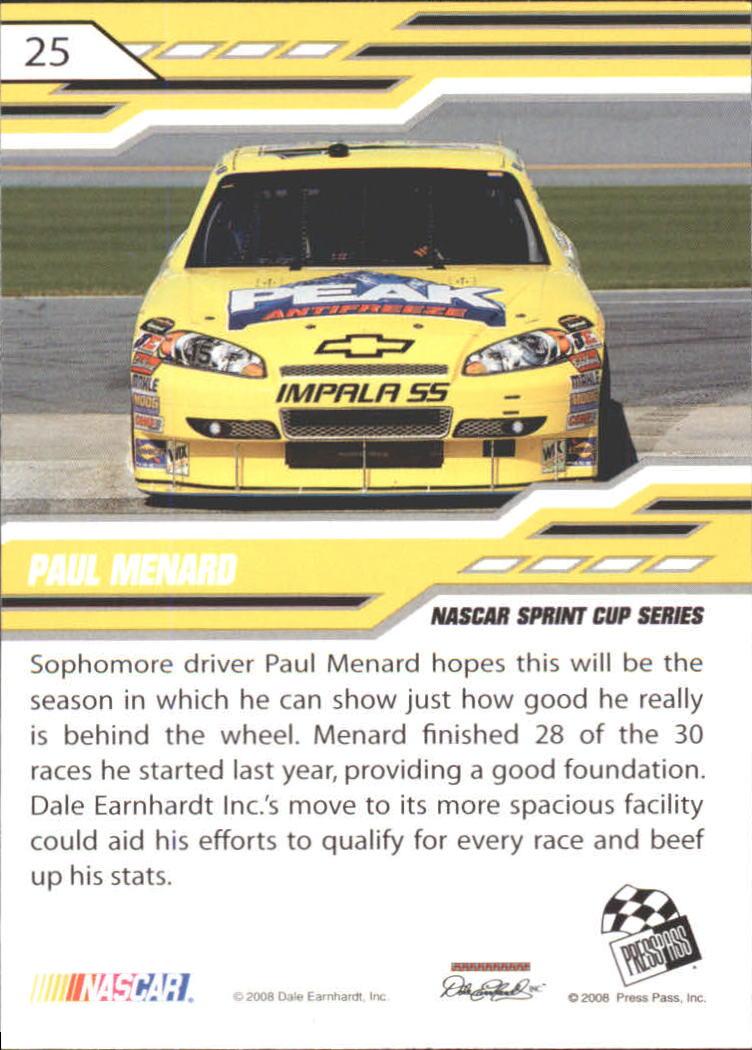 2008 Press Pass Stealth #25 Paul Menard back image
