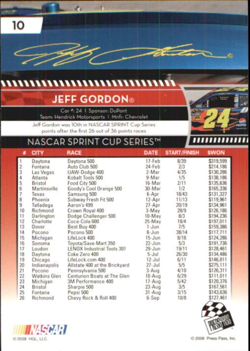 2009 Press Pass #10 Jeff Gordon back image