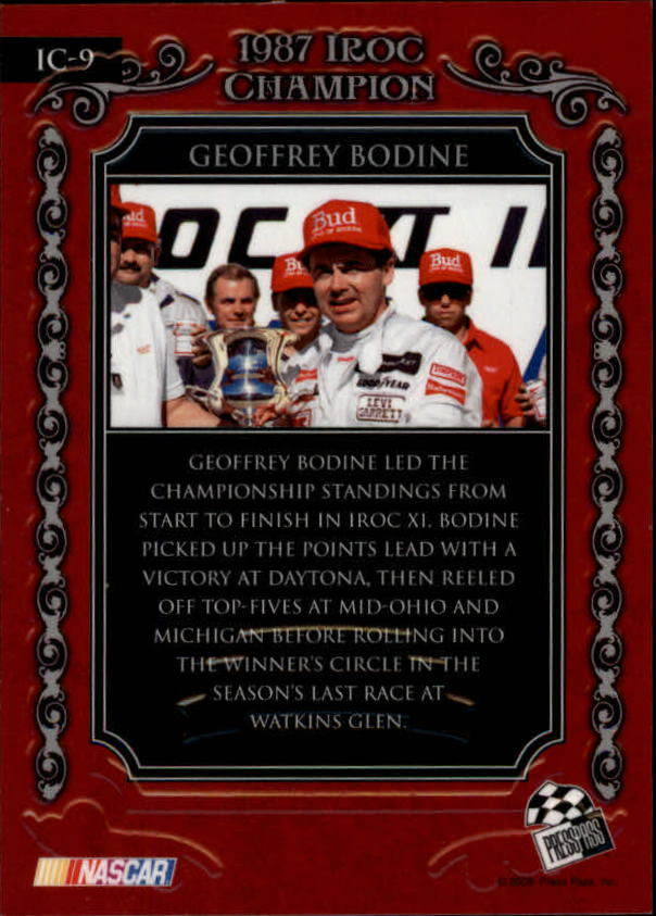 2008 Press Pass Legends IROC Champions #I9 Geoffrey Bodine back image