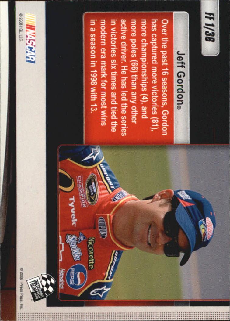 2009 Press Pass Freeze Frame #FF1 Jeff Gordon back image
