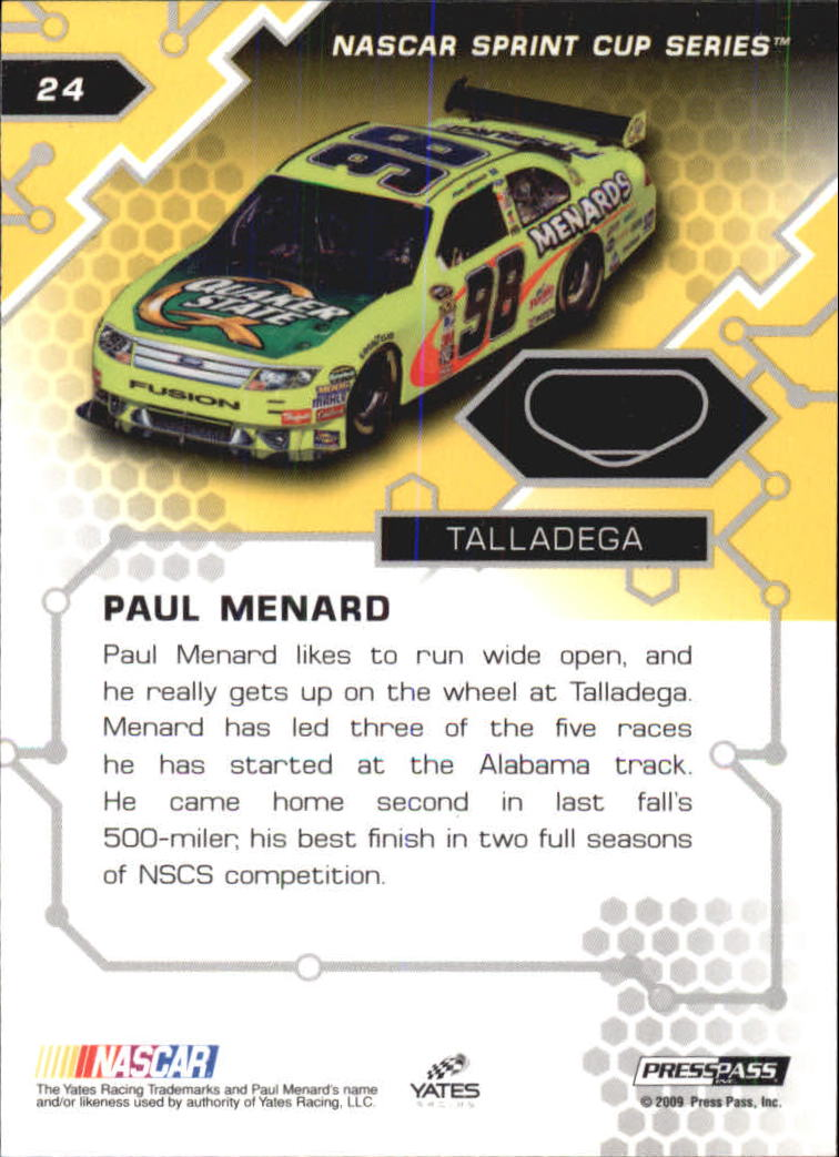 2009 Press Pass Stealth Chrome Gold #24 Paul Menard back image