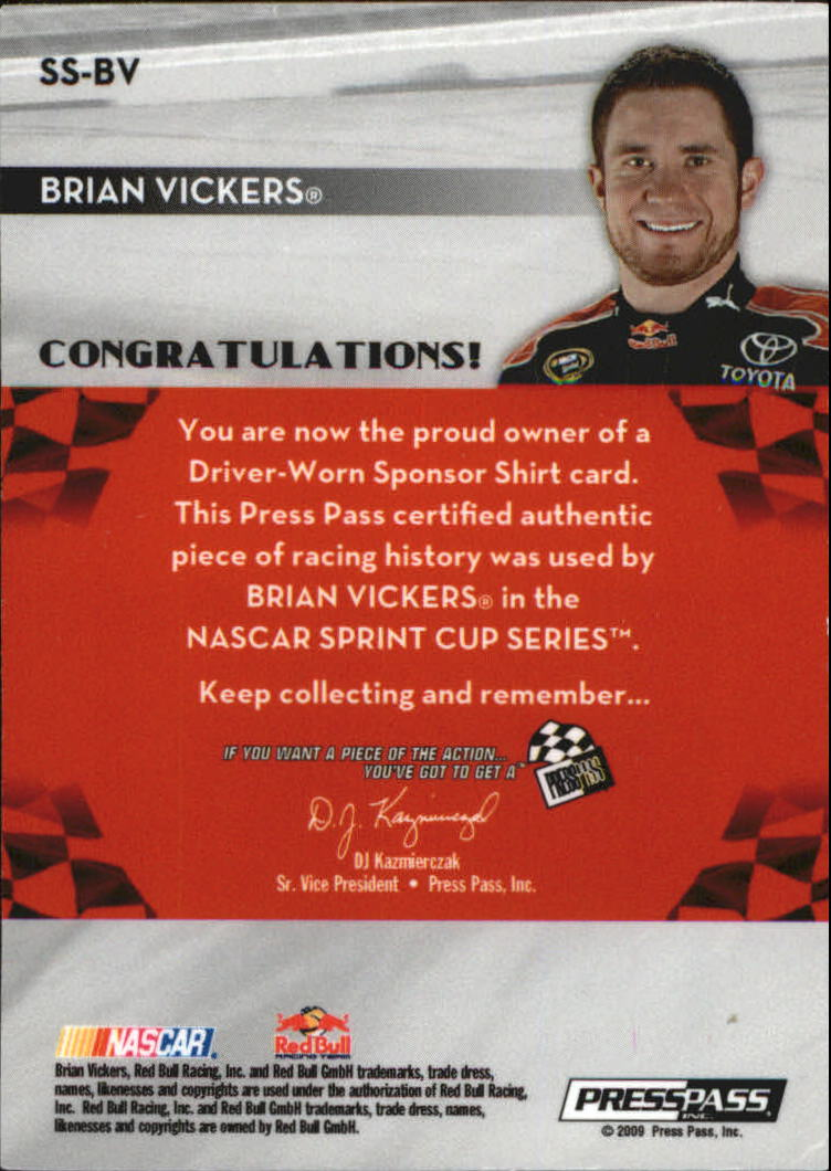 2009 Press Pass Sponsor Swatches Select #SSBV Brian Vickers back image