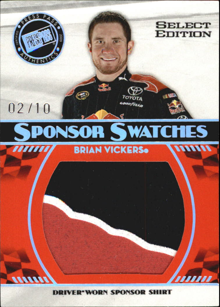 2009 Press Pass Sponsor Swatches Select #SSBV Brian Vickers