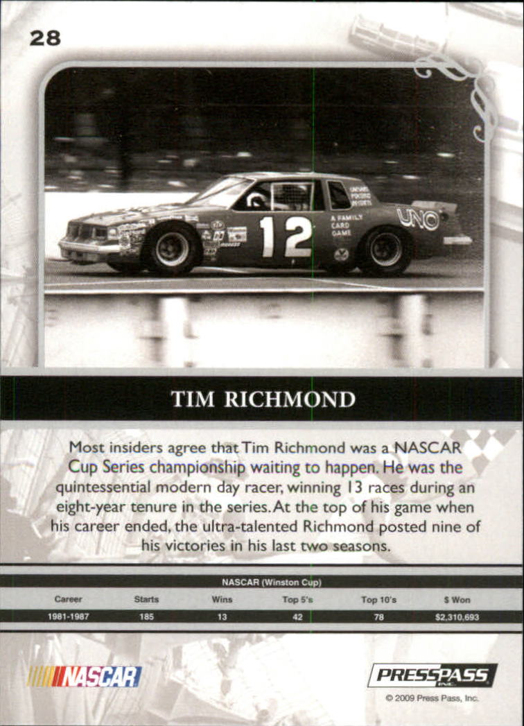 2009 Press Pass Legends #28 Tim Richmond back image