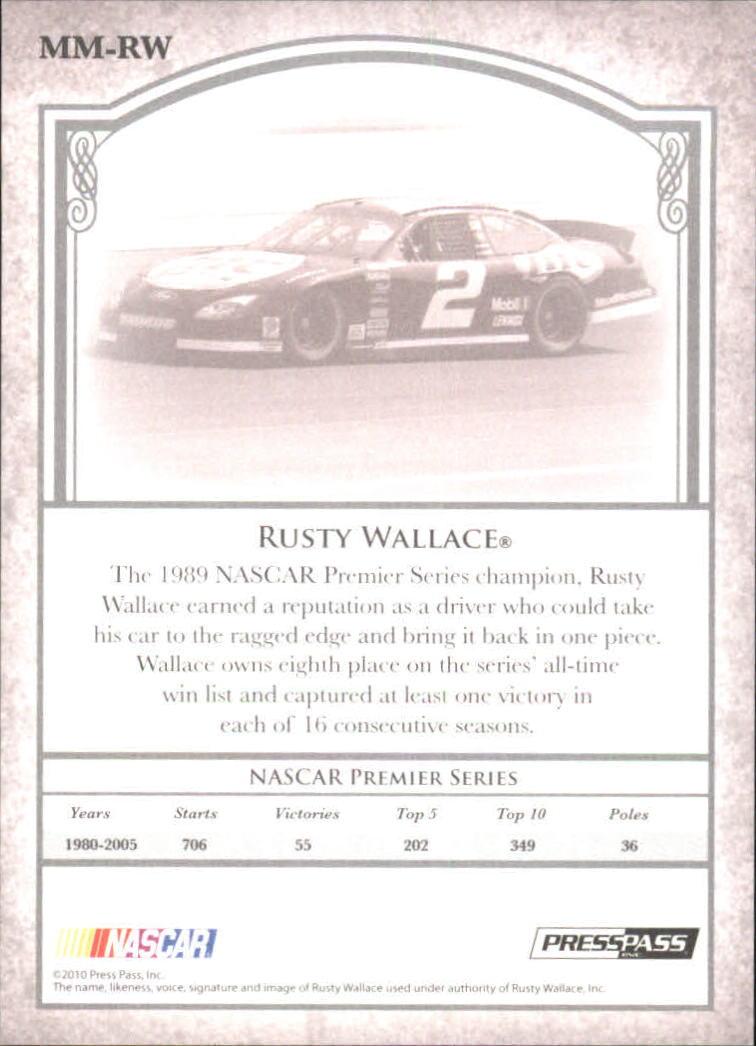 2010 Press Pass Legends Motorsports Masters #mm-rw Rusty Wallace Racing Card Sports Mem, Cards & Fan Shop