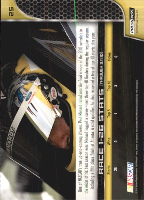 2011 Press Pass #25 Paul Menard back image
